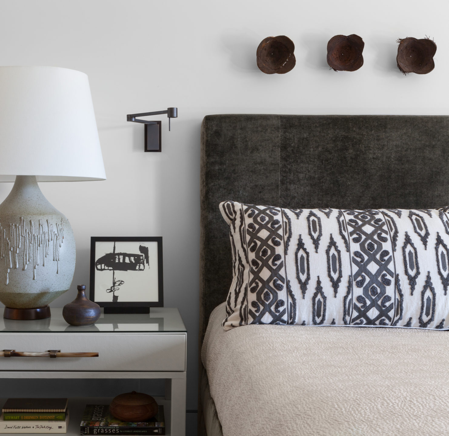Master bedroom vignette of bed and nightstand